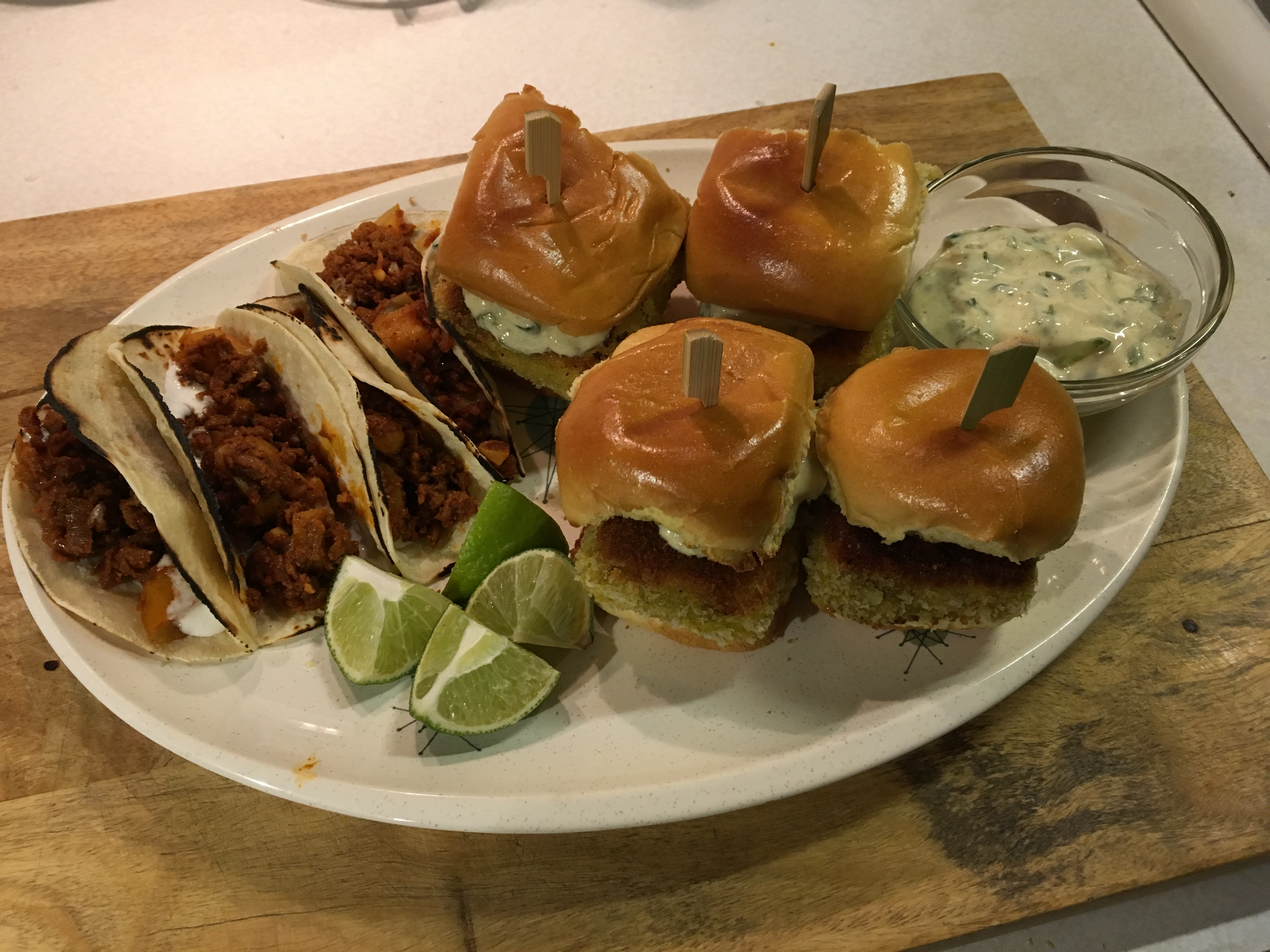 Vegetarian tacos and sliders