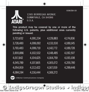 Atari Patent Sticker